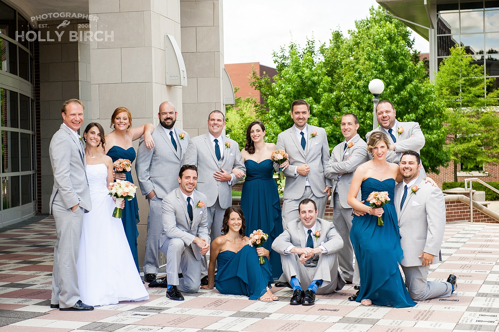 wedding party in gray and peacock blue
