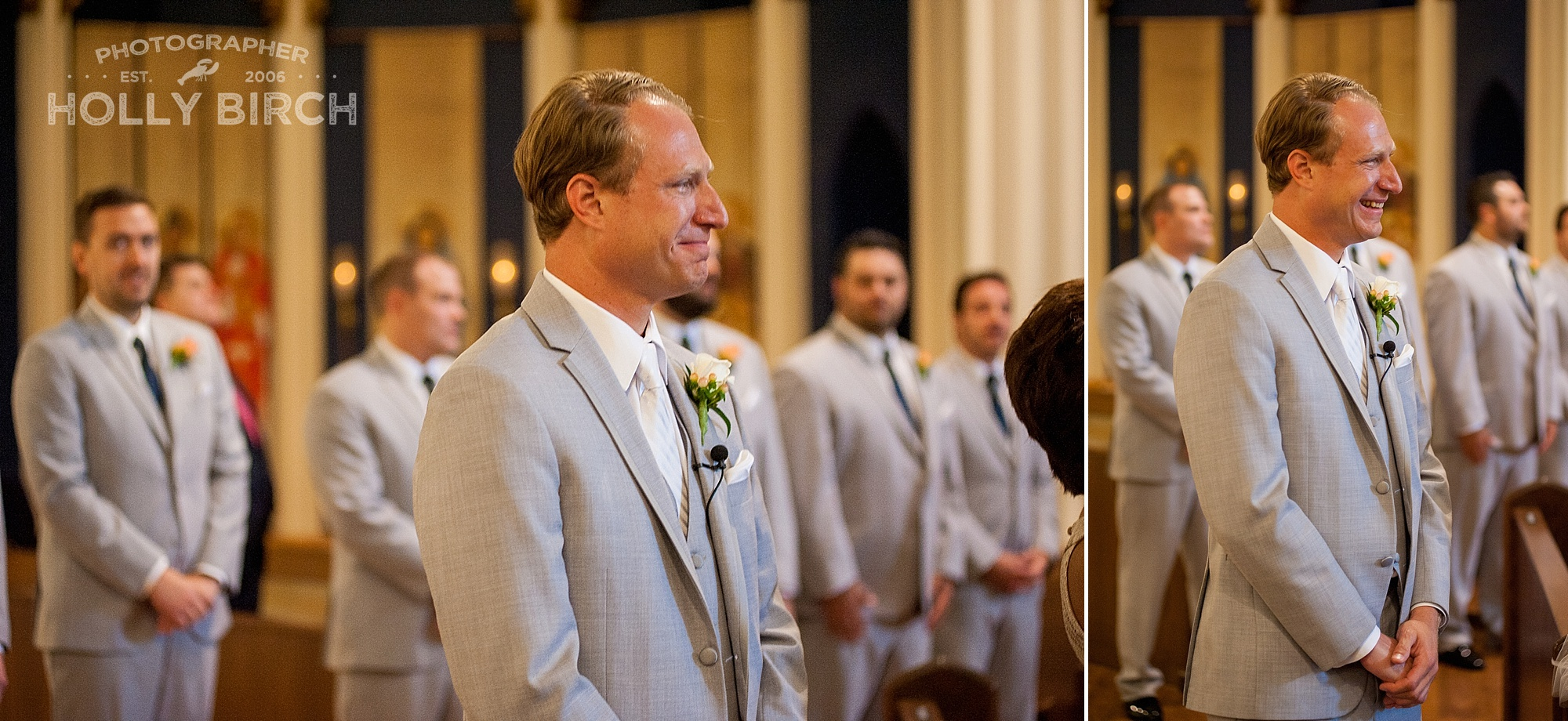 happy tears from groom as bride walks down the aisle