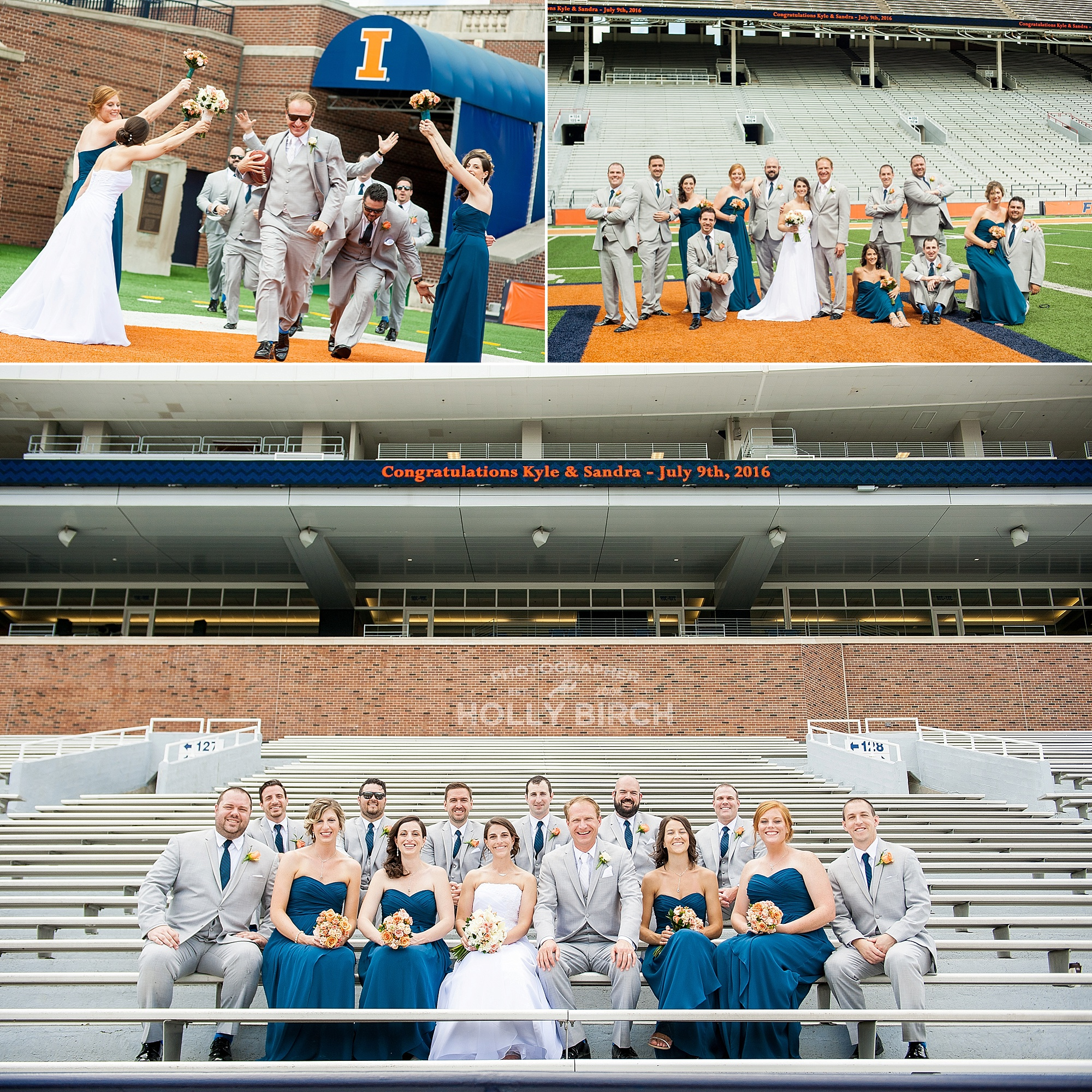 wedding party photos at UI Memorial Stadium