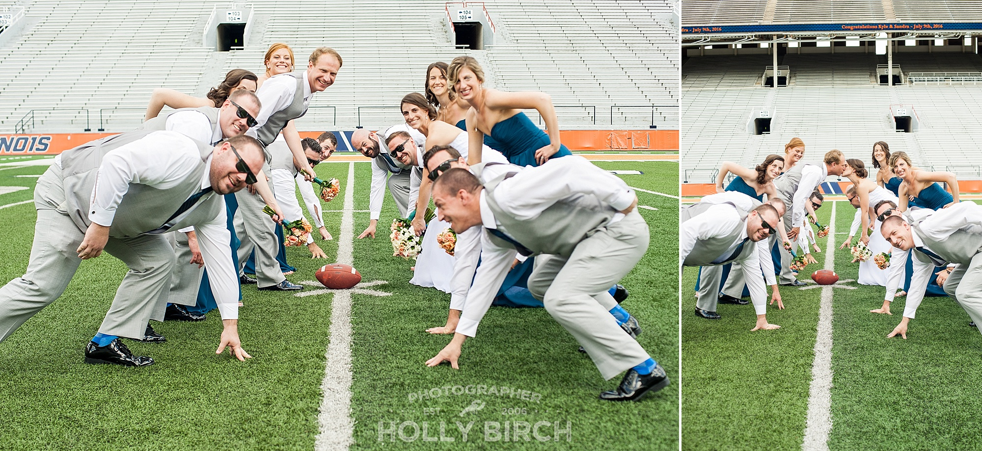 candid football poses with wedding party