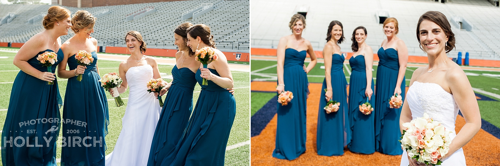 bridesmaids on football field