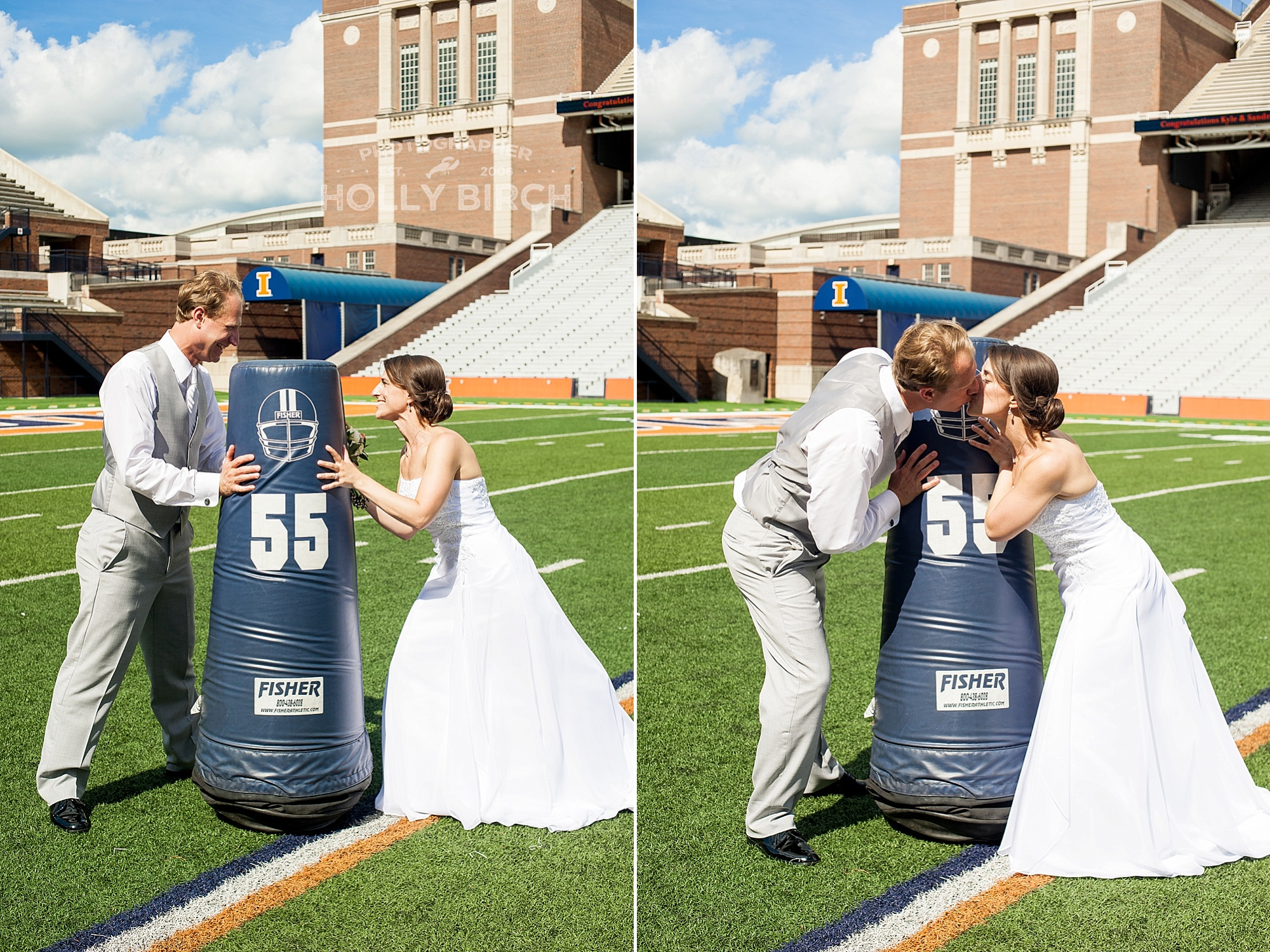 bride and groom having fun in football poses