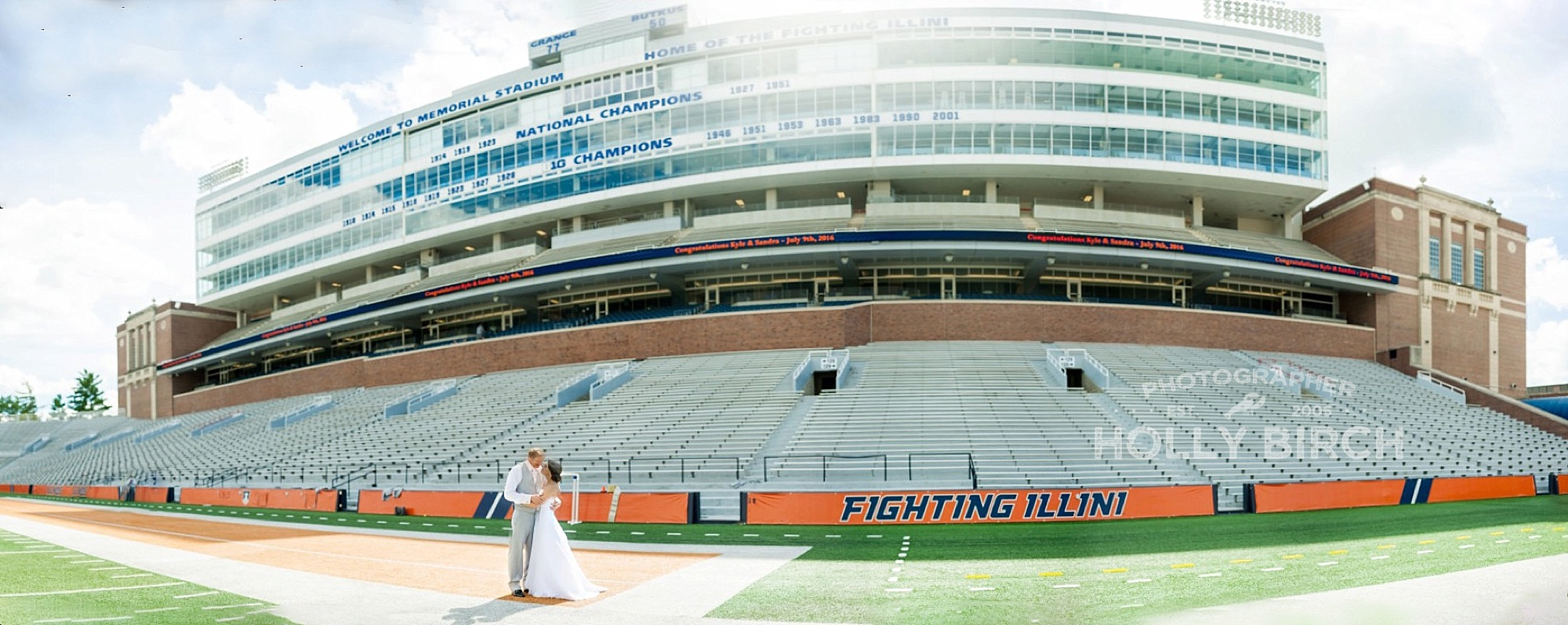 Brenizer Method wedding panorama at Memorial Stadium