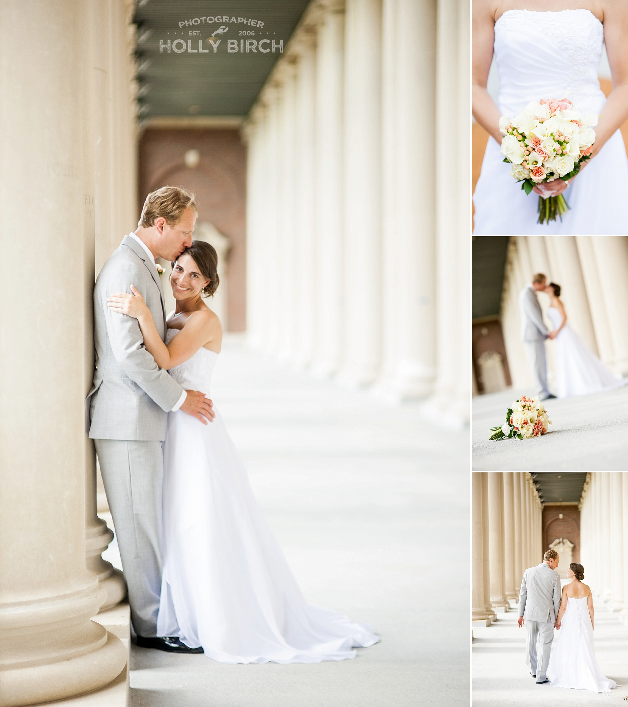 bride and groom with Colonnades at Memorial Stadium