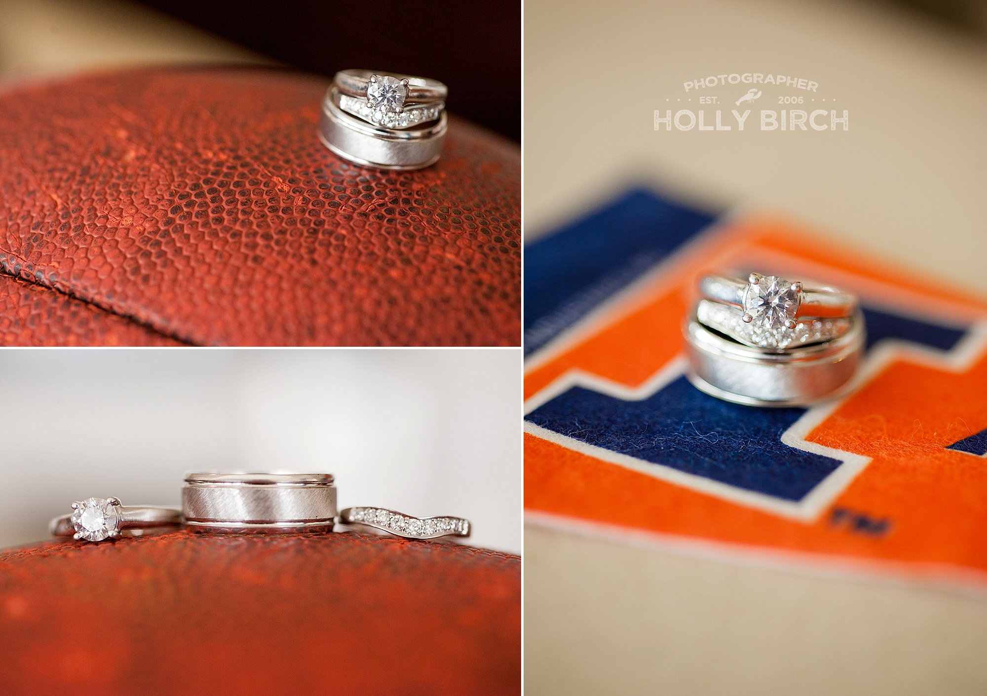 wedding rings with football and pennant