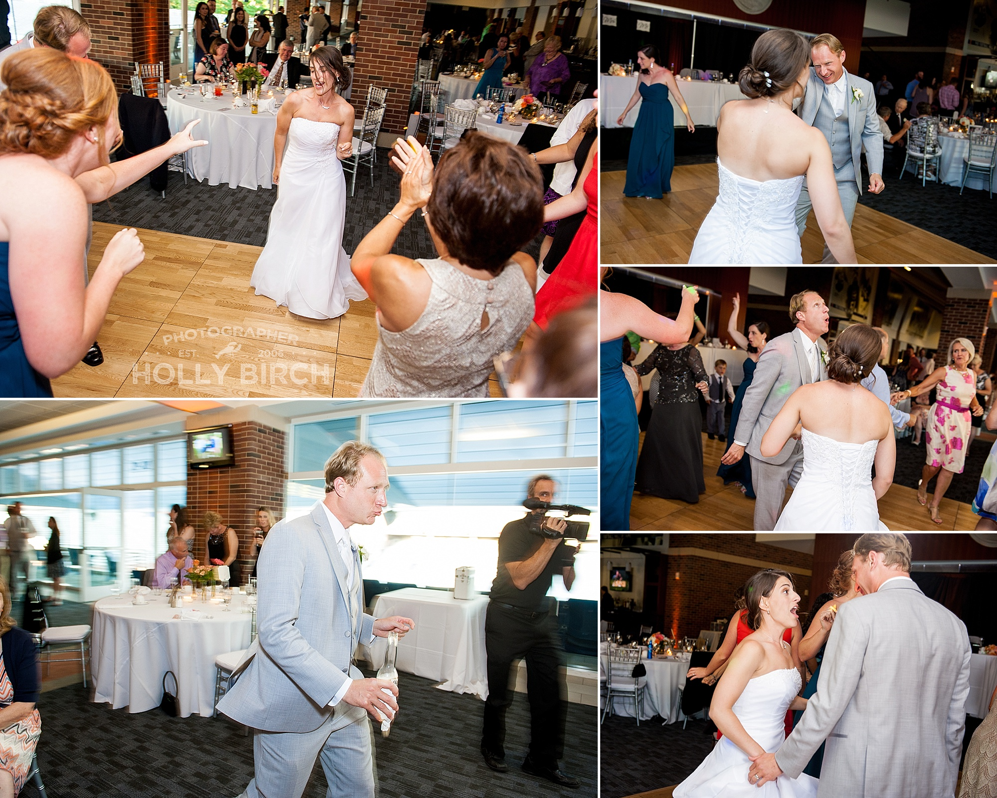 guests dancing with bride and groom