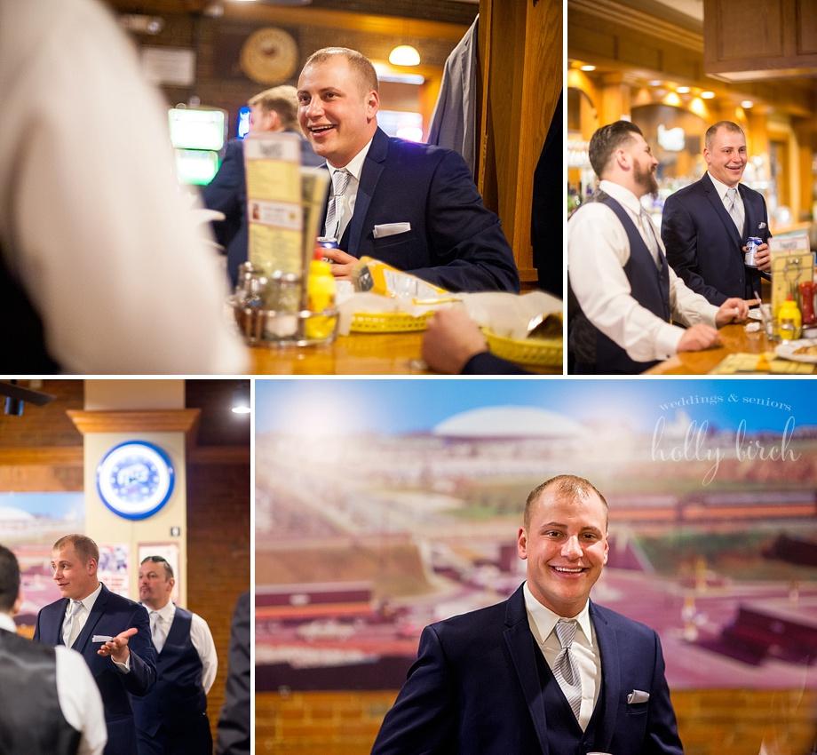 groomsmen pre-wedding at Champaign Esquire