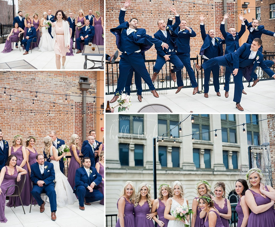 Champaign rooftop wedding party