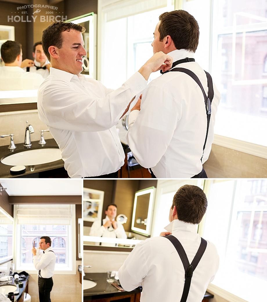 best man helping groom get ready for wedding