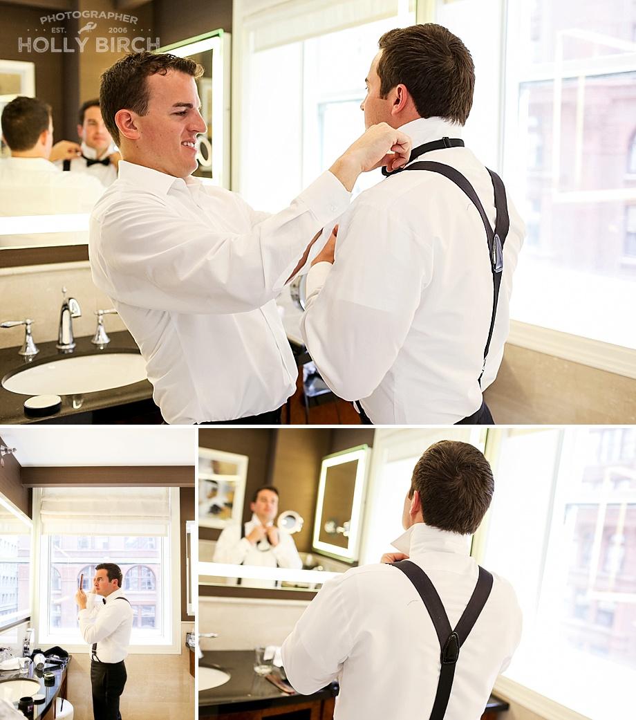 best man helping groom get ready for wedding