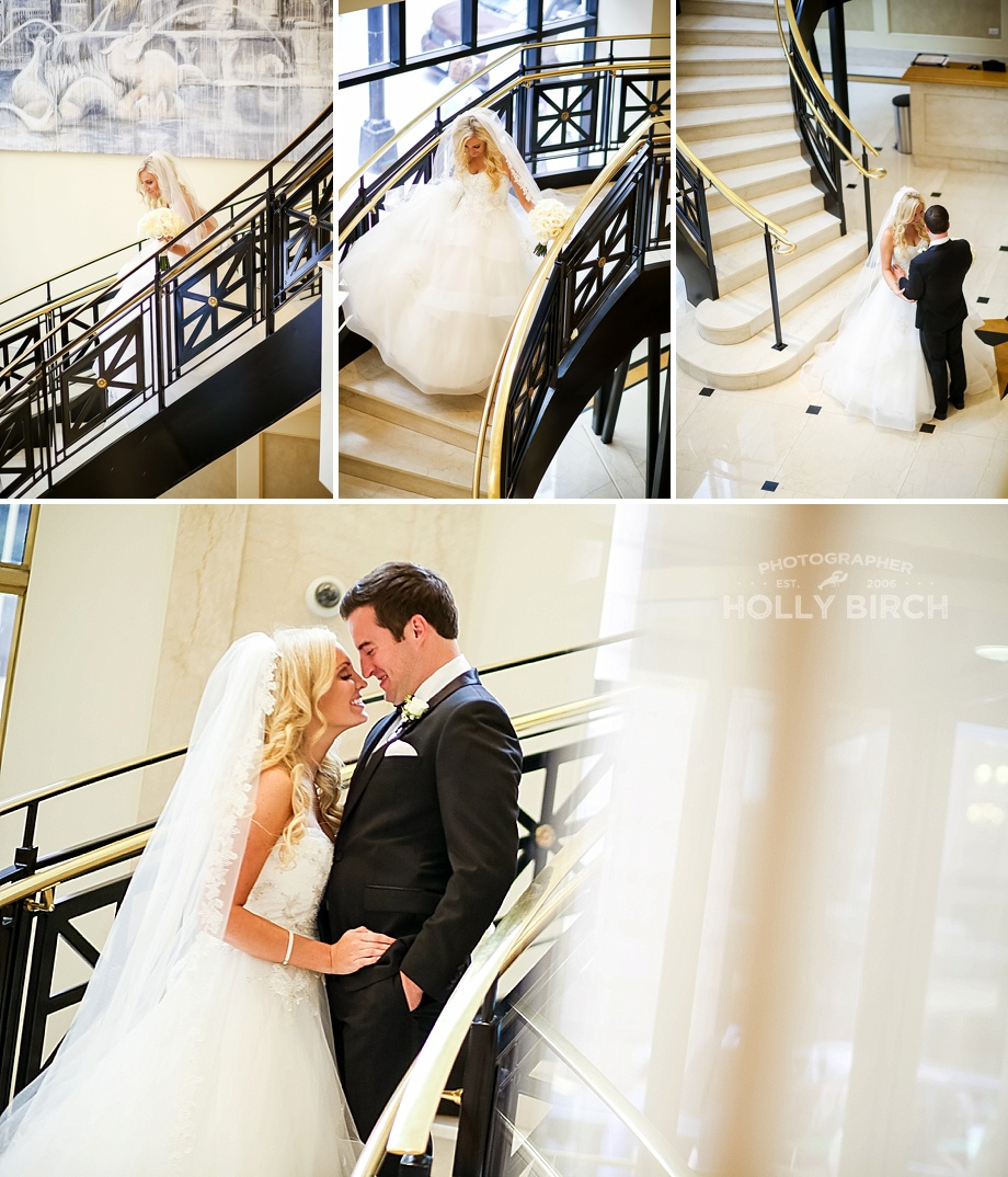 bride and groom first look on grand staircase
