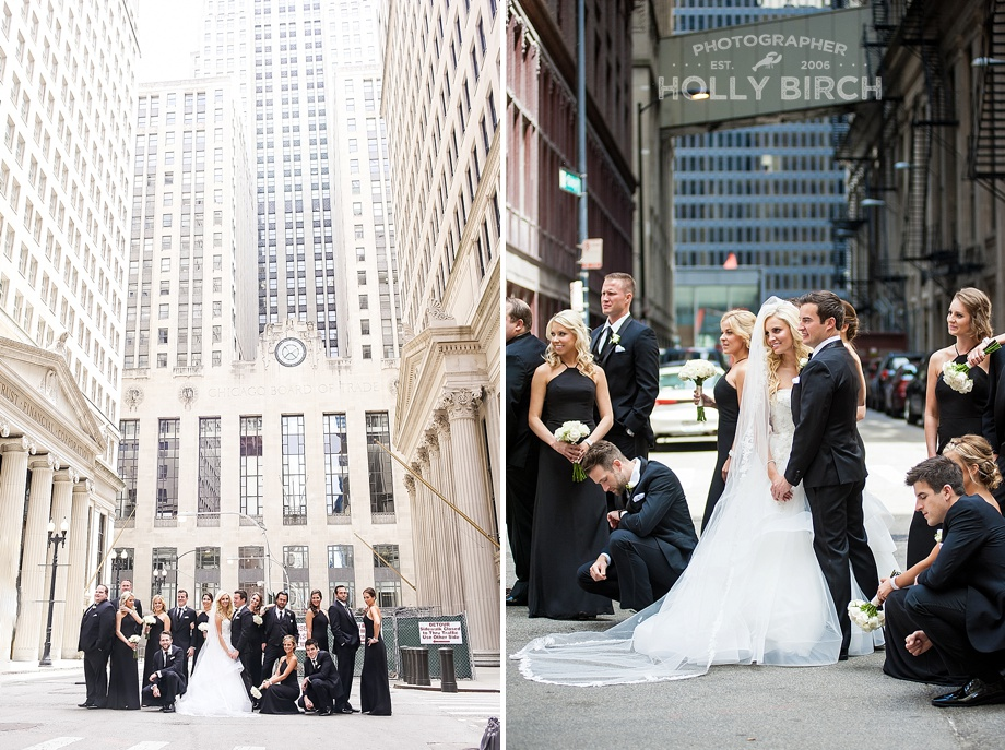 downtown Chicago wedding party photos