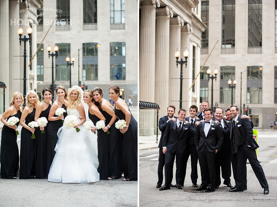 bridesmaids and groomsmen in black formal attire