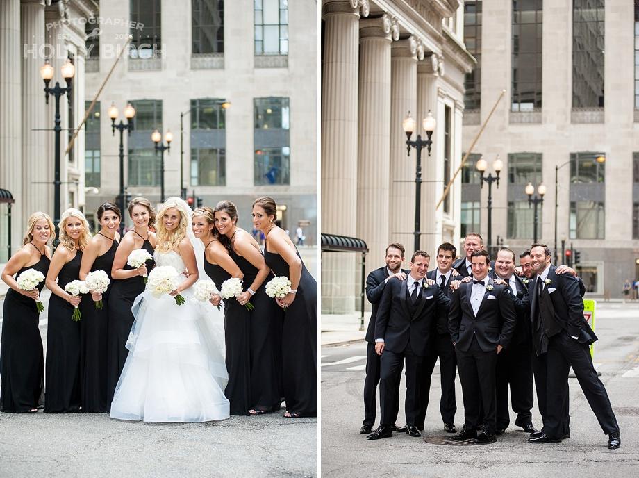 bridesmaids and groomsmen in black formal attire