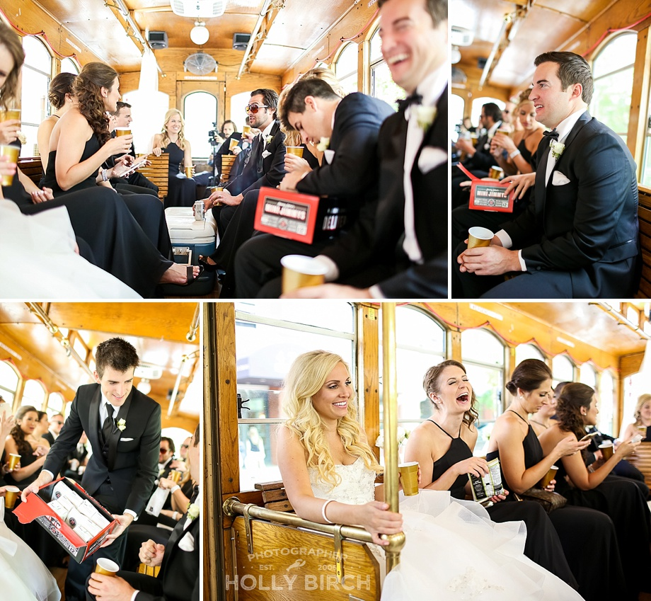 wedding party eating Jimmy John's on the trolley