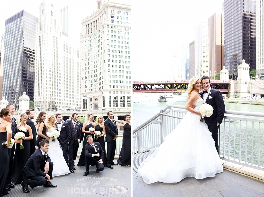 wedding party in front of the Chicago River