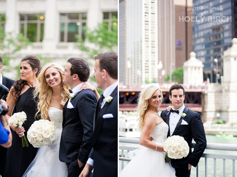 bride and groom wedding portraits in downtown Chicago