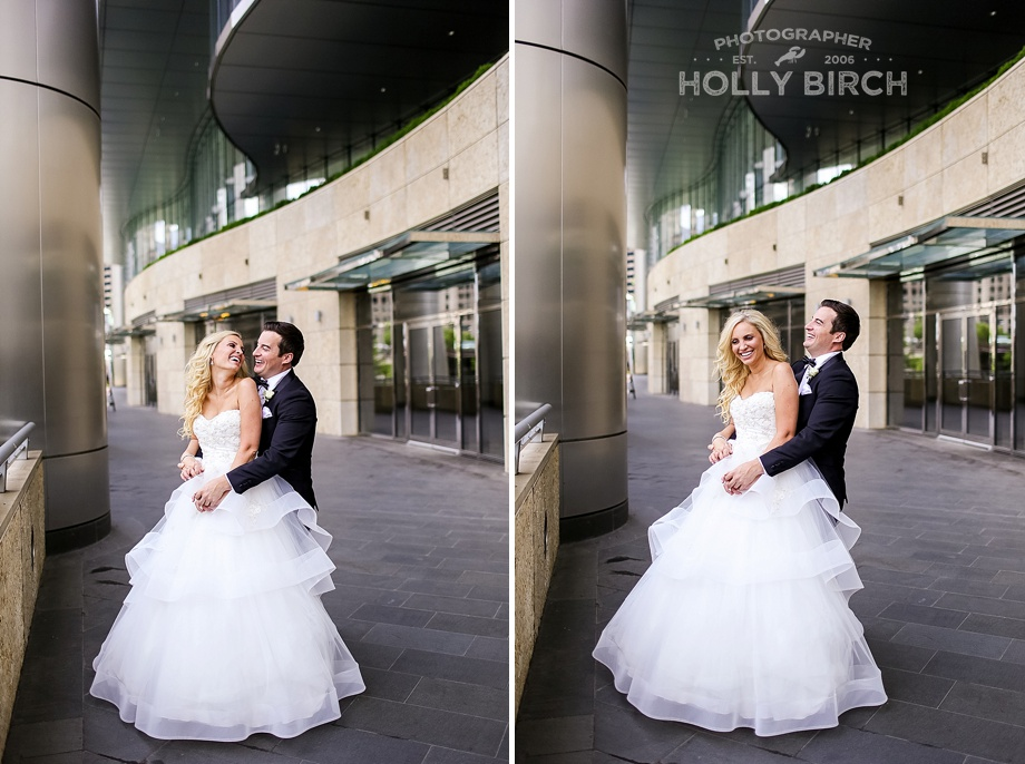 bride and groom photos below Trump Tower