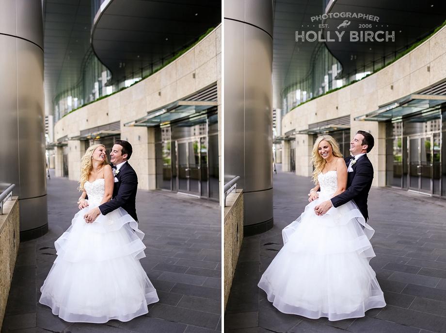 bride and groom photos below Trump Tower
