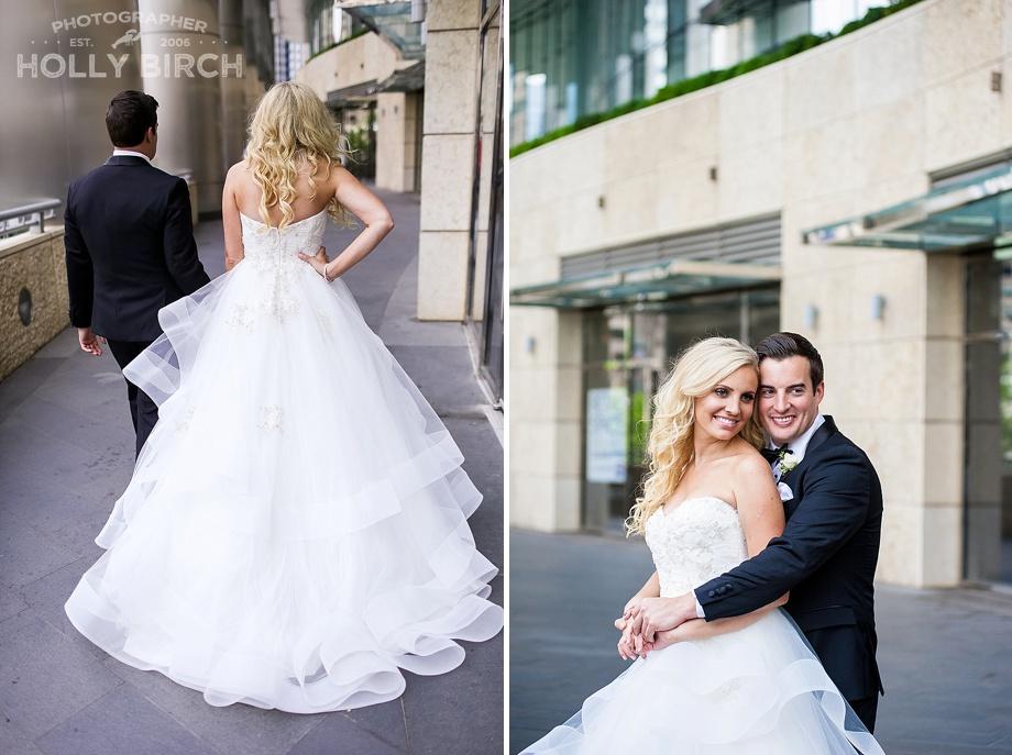 radiant blonde Cinderella bride