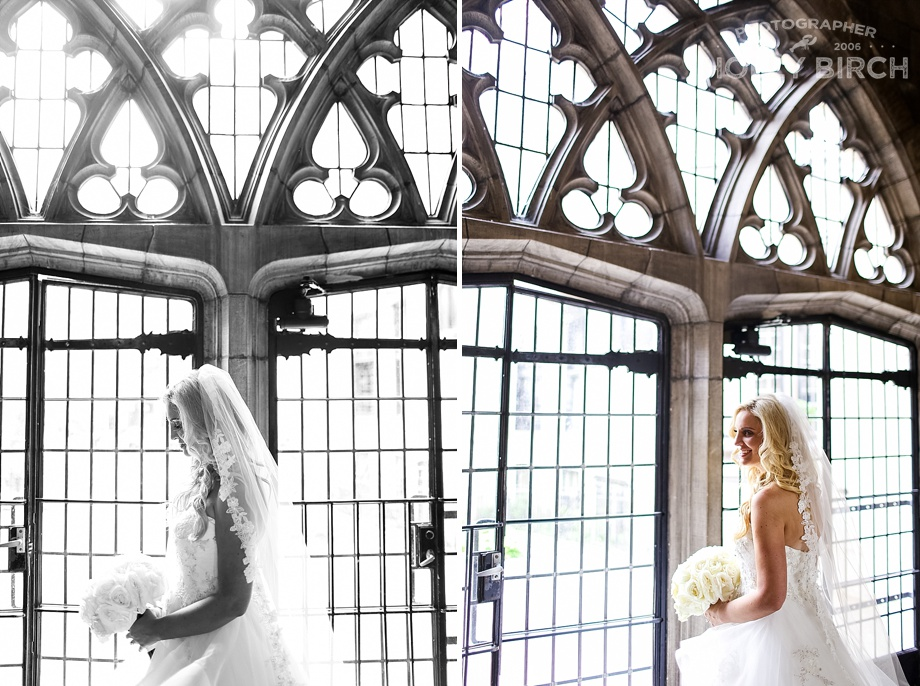 portraits of bride in ornate Episcopal church