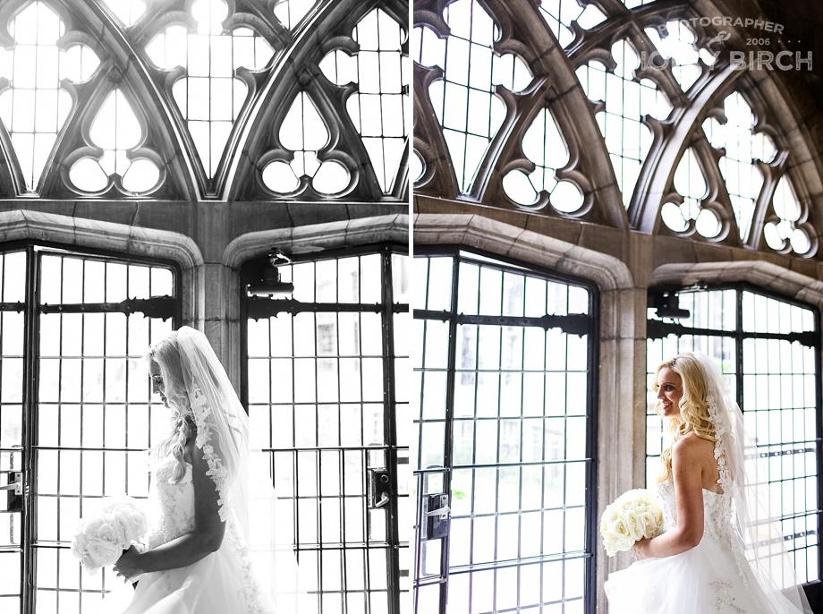 portraits of bride in ornate Episcopal church