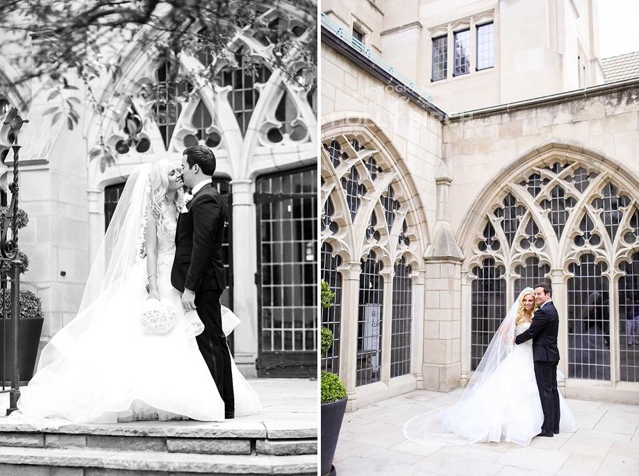 wedding photos in church courtyard