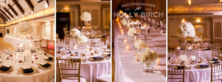 gold chairs with white linens and flowers