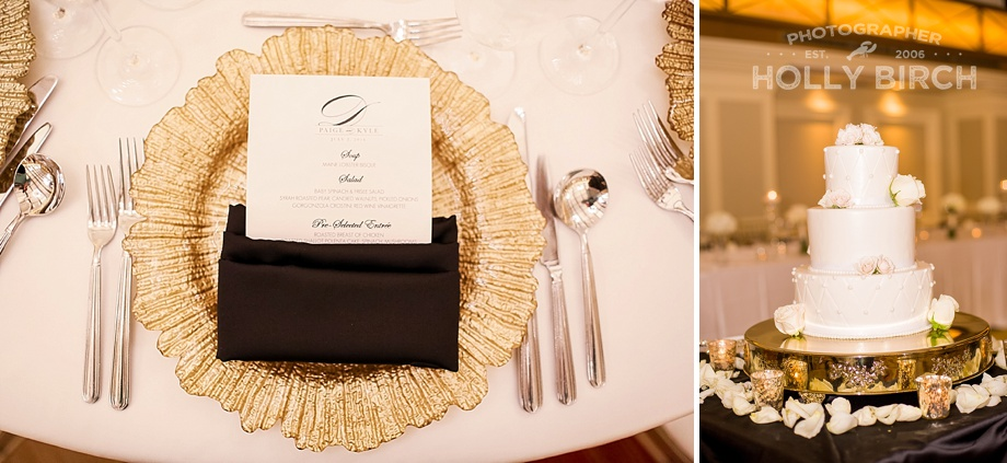 gold charger plates with black napkins