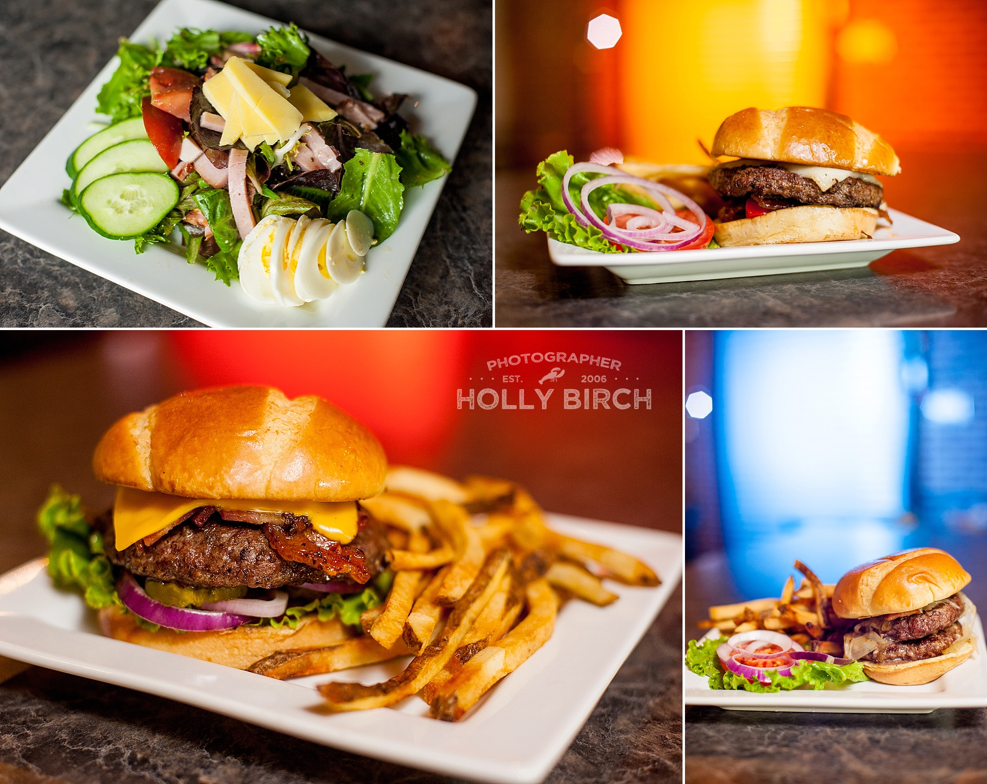 all-American burgers and cobb salad
