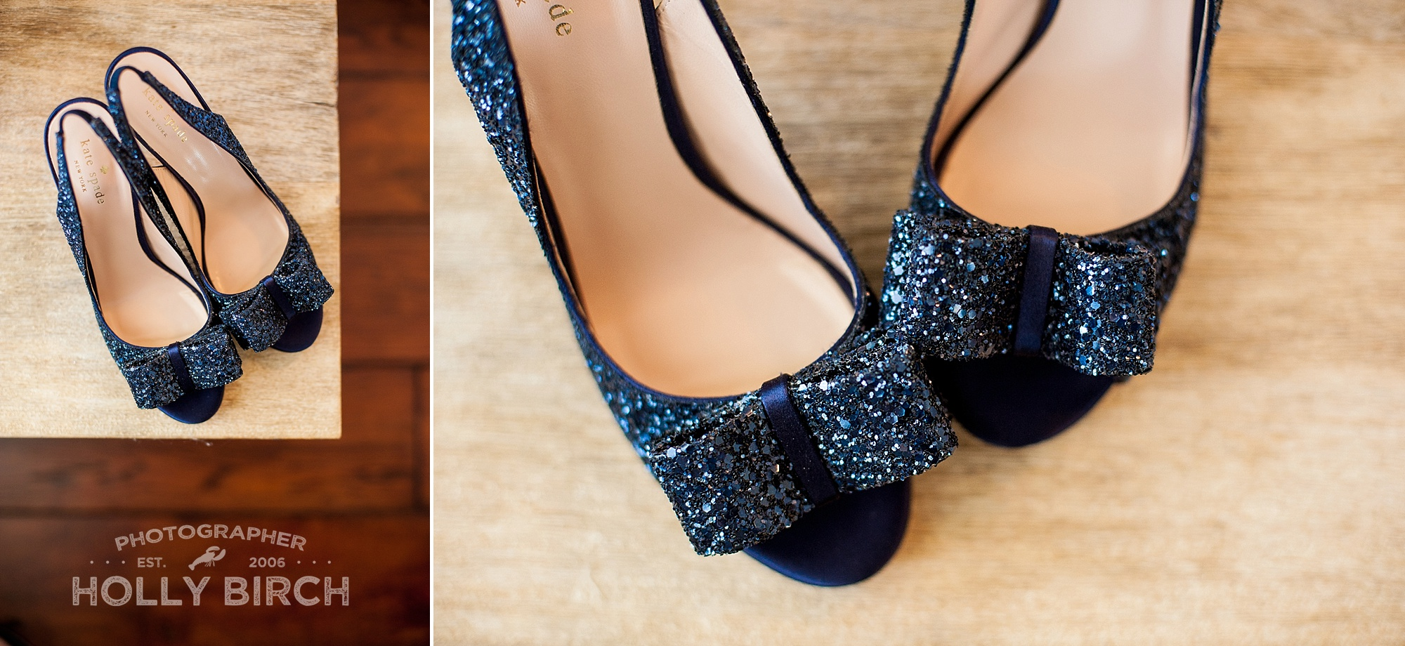 Kate Spade navy glitter wedding shoes