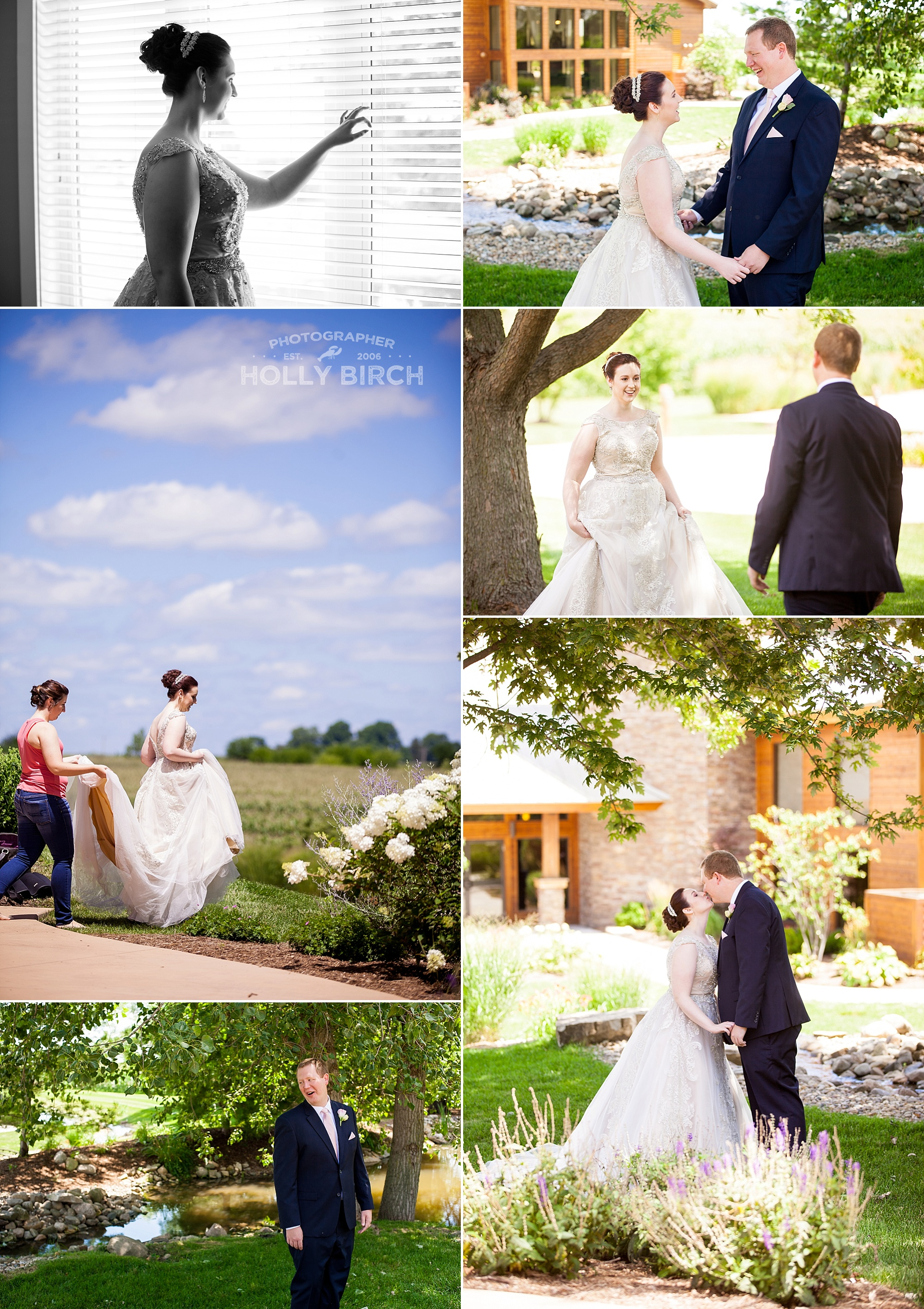 bride groom first look at Pear Tree Estate