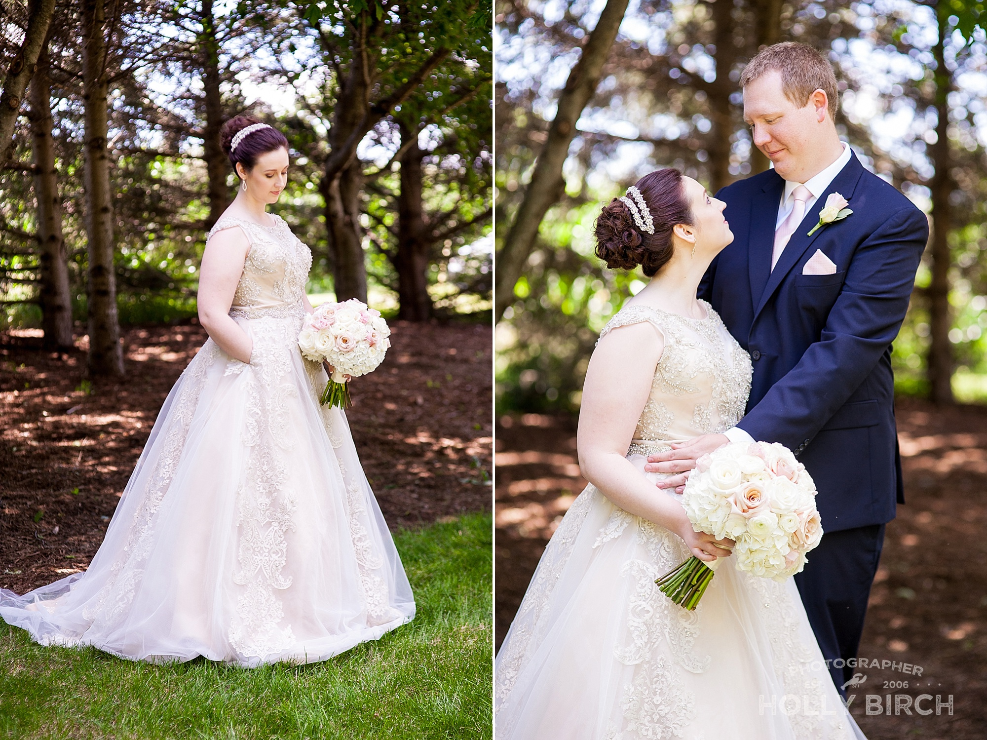 bride in champagne ivory dress