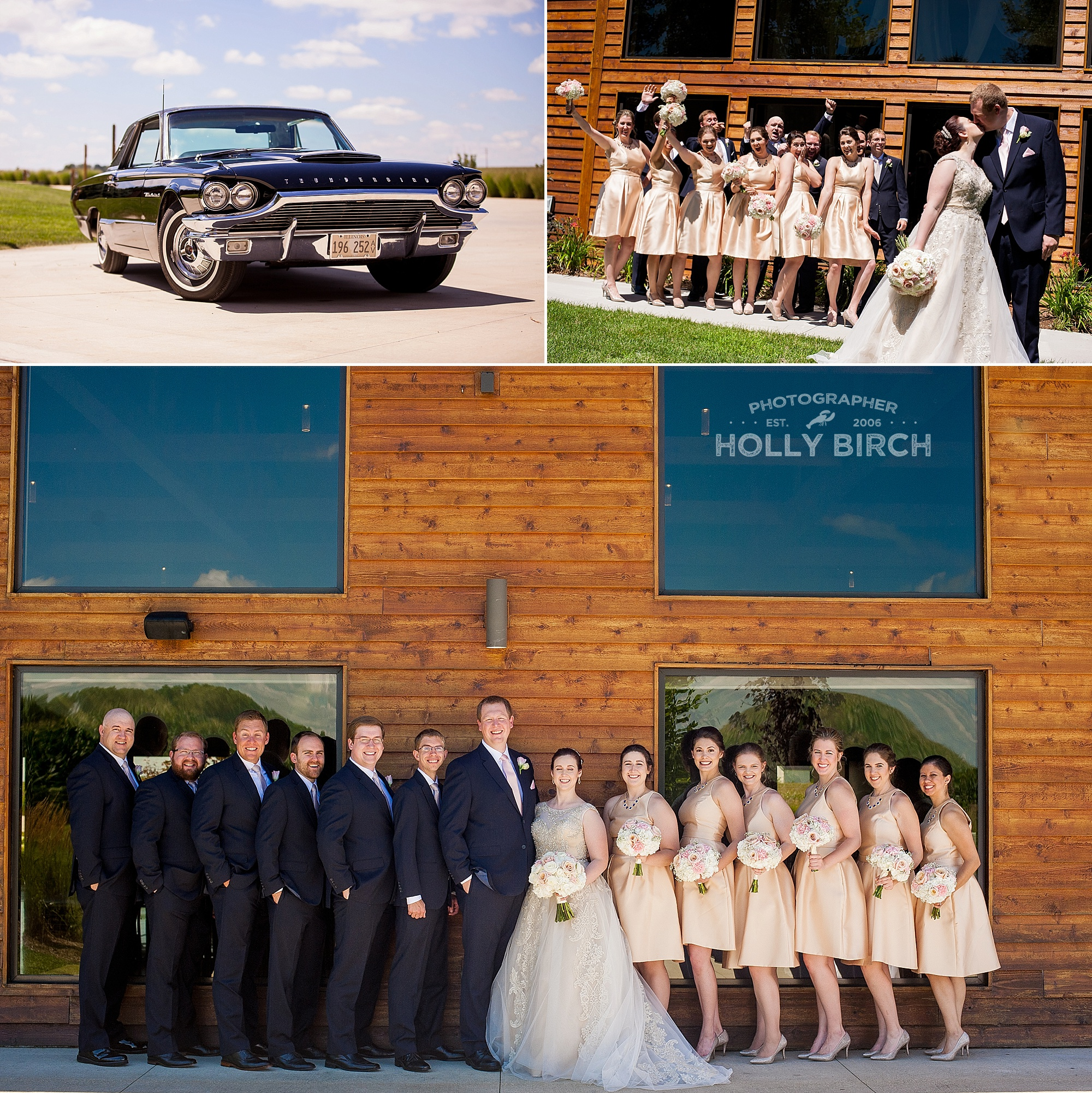 wedding party and 1964 Thunderbird