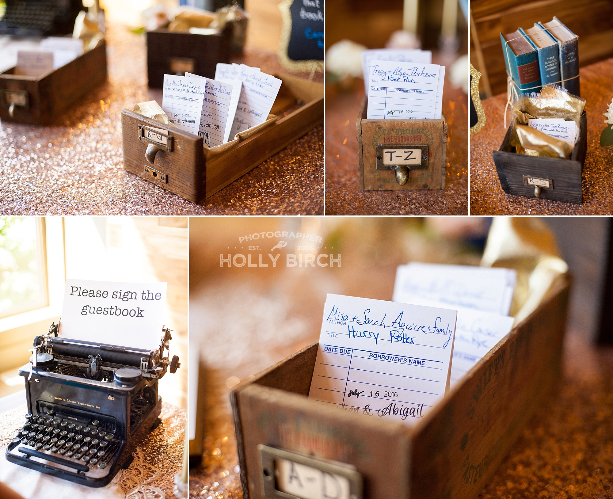 library seating cards in card catalog boxes