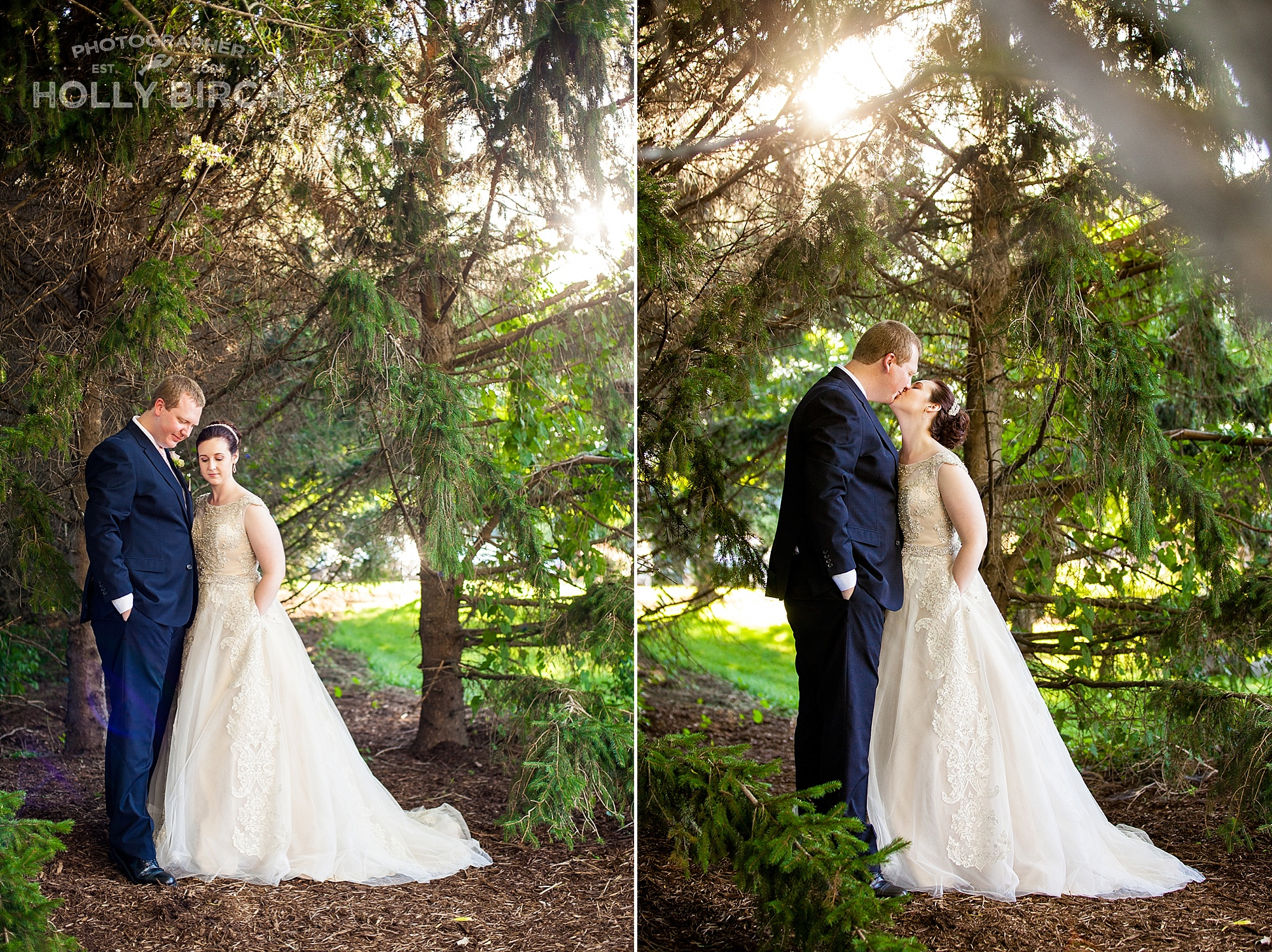sunlight through trees wedding photo