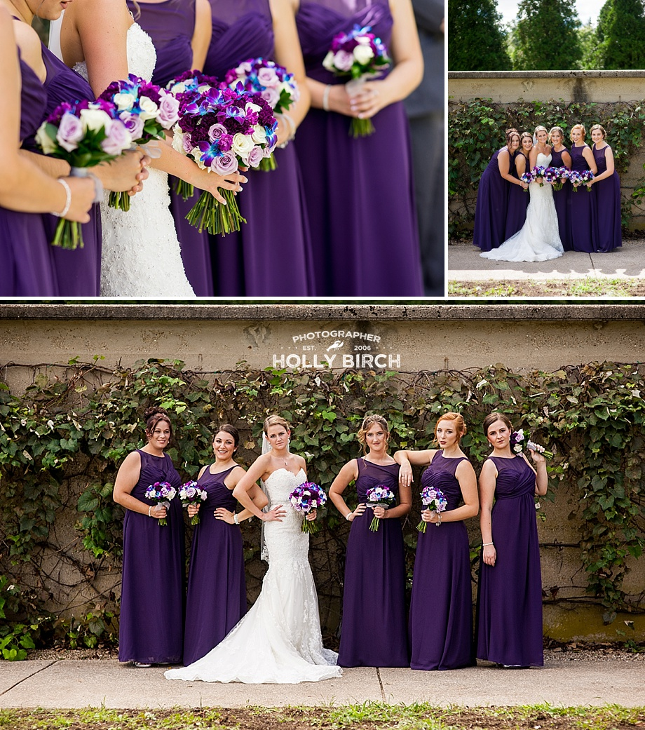 bridesmaids in purple dresses with grapevines