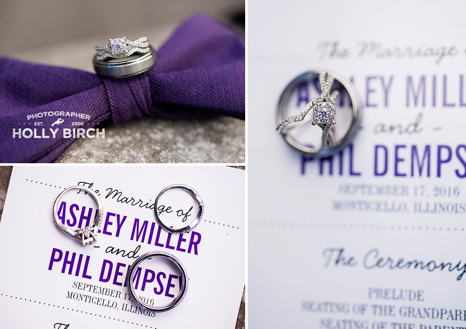 wedding bands with program and purple bow tie
