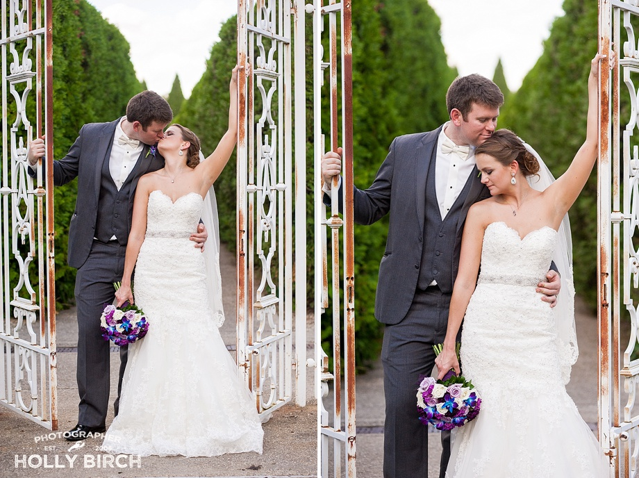 romantic wedding portrait with wrought iron gates