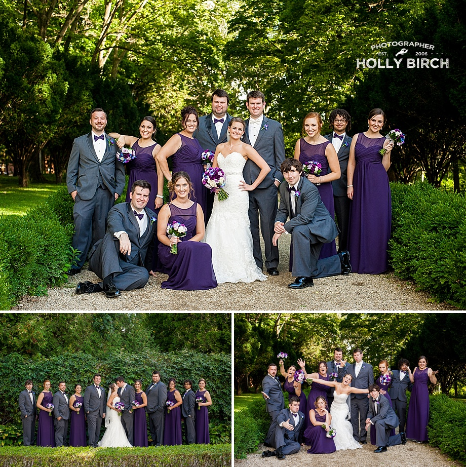purple and gray posed wedding party