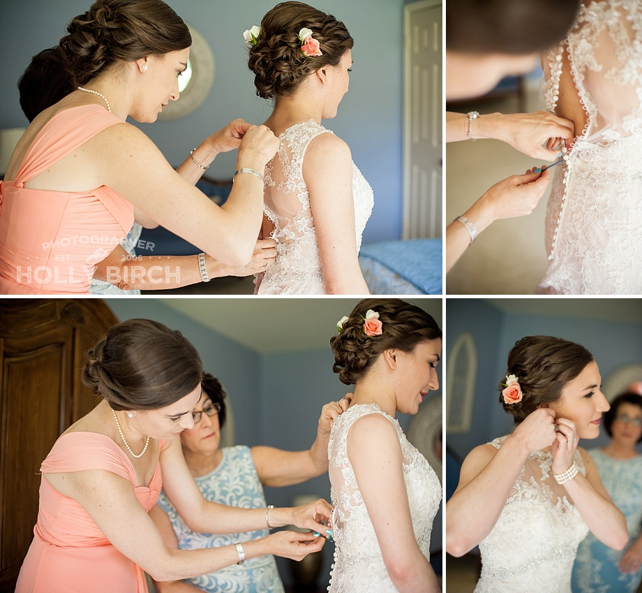bride getting dressed with crochet hook