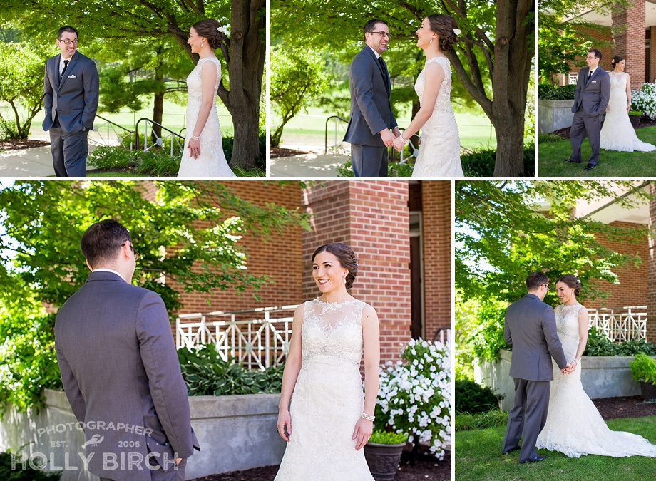 First Look between bride and groom at Champaign Country Club