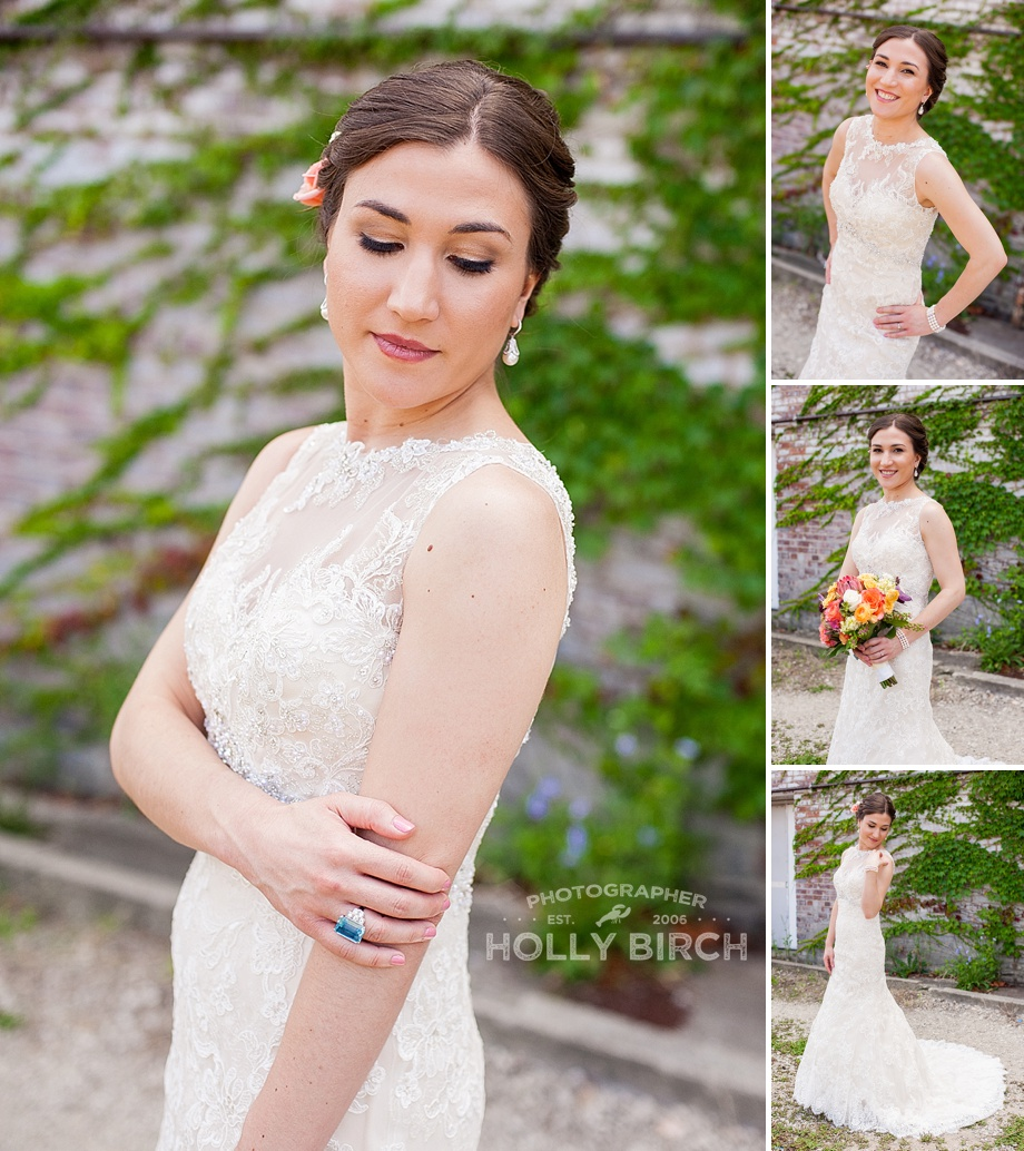 elegant stunning bride in lace high neckline