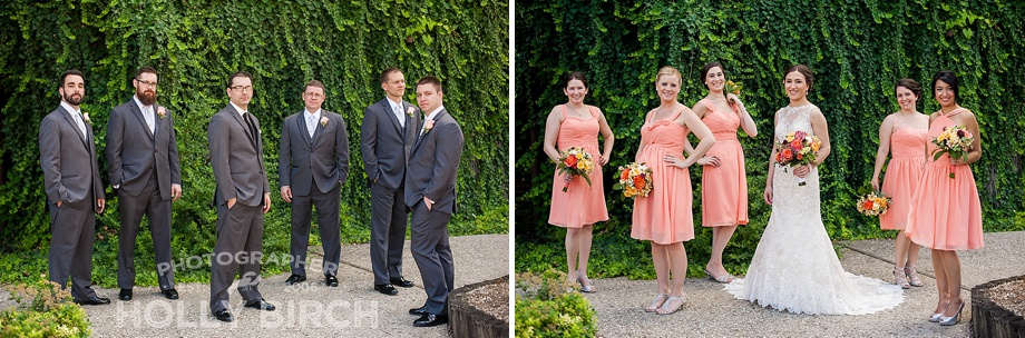 gray and coral bridesmaids and groomsmen