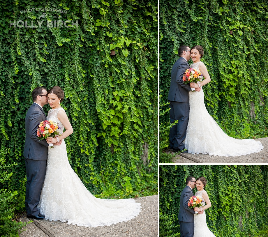 wedding portrait with ivy wall