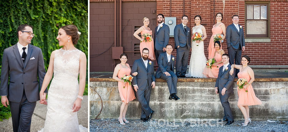 industrial wedding party photo