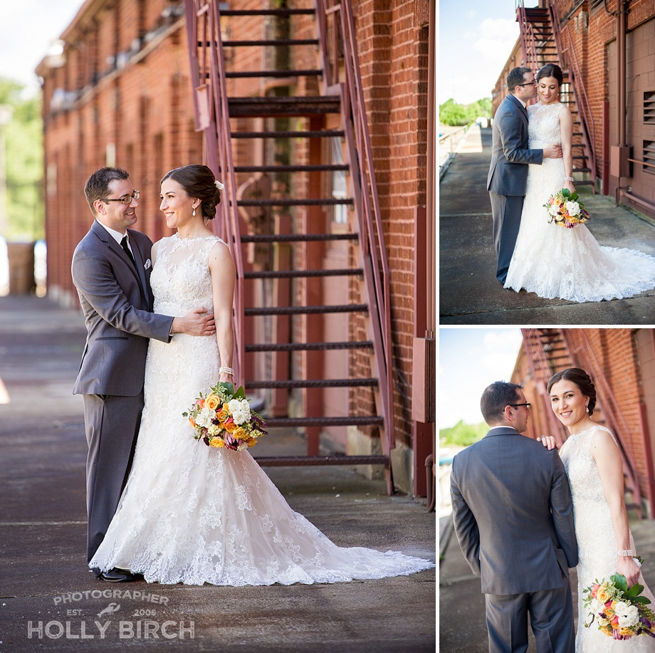 urban wedding photos with Illinois bride and groom