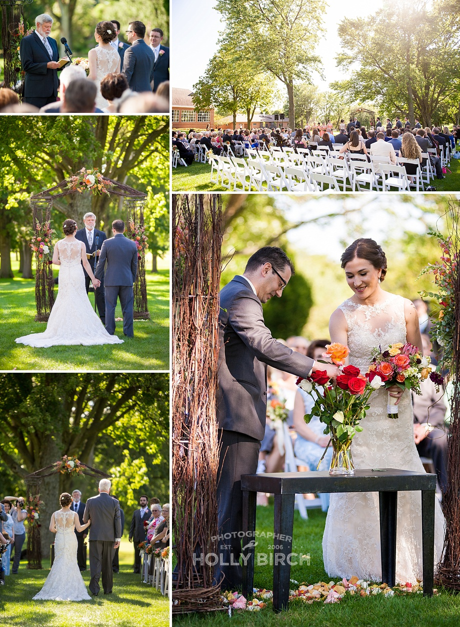 outdoor wedding ceremony at country club