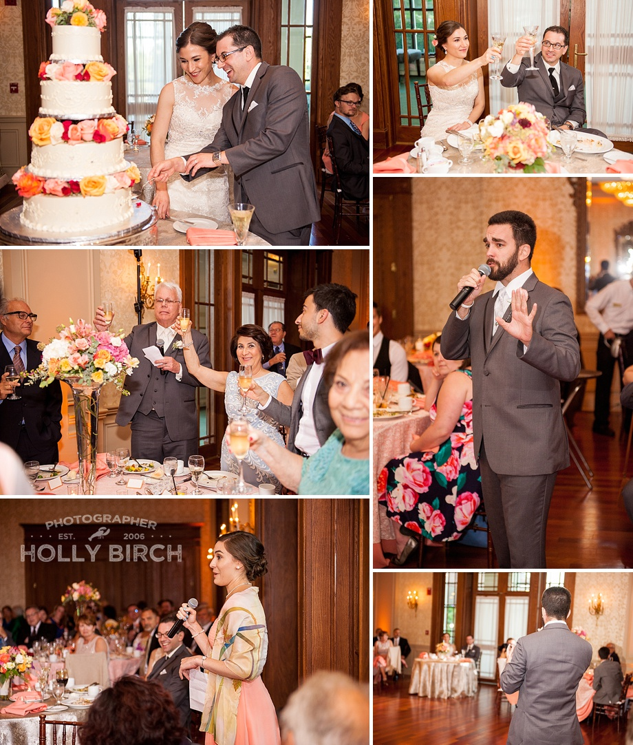 cutting the cake and toasts
