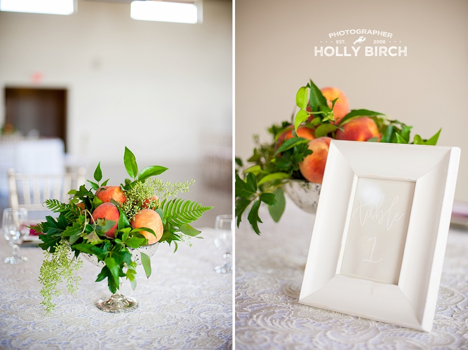 peaches and greenery centerpieces